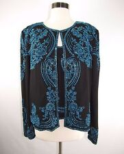 Sean Collection 1X Black Beaded Evening Formal Jacket & Shell Tank Paisley plus