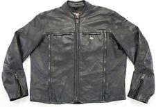 Harley Davidson Veste Cuir M L Shifter Noir en Relief Barre Zip Orifice Mesh EUC