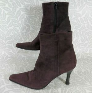 HOBBS Designed by Marilyn Anselm Suede Heeled Ankle Boots in Aubergine Size 5