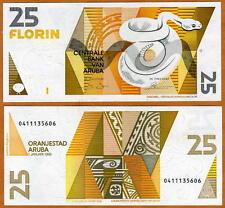 Aruba, 25 florin, 1990, P-8, UNC > rattlesnake florin