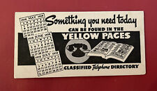 VTG 1938 INK BLOTTER FOR THE YELLOW PAGES TELEPHONE DIRECTORY