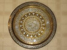 Antique Cairo Ware Middle Eastern Lg Brass Table Tray W Silver & Copper Inlay