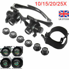 Magnifier Magnifying Eye Glass Loupe Jeweler Watch Repair Kit w/ LED Light Set