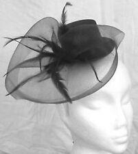 black mini top hat fascinator feather hair headband wedding ascot race party