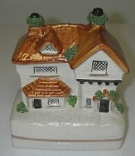 """Art Pottery STAFFORDSHIRE England Coin BANK Cottage/House Antique 5"""""""