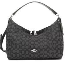 NWT Coach 58284 Celeste Outline Signature Hobo Shoulder Bag Canvas Smoke Black