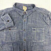 G.H. Bass & Co. Button Up Shirt Men's 2XL XXL Long Sleeve Blue Chambray Cotton