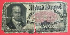"1875 Us Fractional Currency ""Fifty Cents"" Rough! Old Us Currency!"