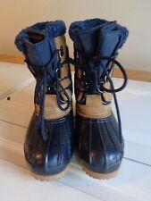 EDDIE BAUER DUCK BOOTS women's 6 shoes rain tan leather blue rubber lined