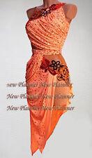 L3991 women ballroom latin swing rumba samba chacha US 12 dance dress orange sex