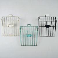 Wire Magazine Newspaper Basket Wall Mounted Post Storage Rack Vintage Style