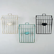 Wire Magazine Newspaper Basket Wall Mounted Post Storage Rack Vintage Style