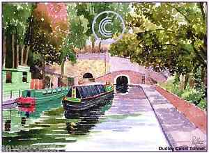 """DUDLEY CANAL TUNNEL WEST MIDS WATERCOLOUR ARTISTS PRINT GREETINGS CARD 8""""x 6"""""""