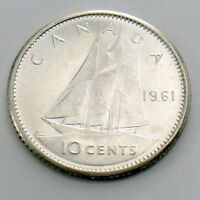 1961 Canada Ten 10 Cent Silver Dime Brilliant Uncirculated Canadian Coin H993