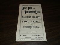 1891 NEW YORK AND GREENWOOD LAKE PUBLIC TIMETABLE REPRINTED IN 1972