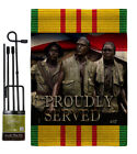 Proudly Served Burlap Garden Flag Service Armed Forces Gift Yard House Banner