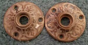 "2 Victorian Antique Brass/ Bronze Door Knob Rosette / Backplates  2 """