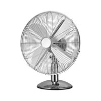 Desk Fan Chrome Metal Oscillating Table Fan Electric 3 Speed Fan Blower Cooler
