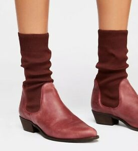NEW Free People FP Merritt Stretch Sock Boots Size 36 Ankle Booties Burgundy