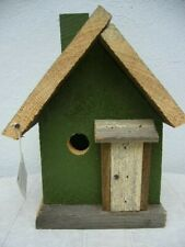 "Barn Wood Birdhouse 7"" X 8"" X 12"" Handcrafted Green White Grey New"