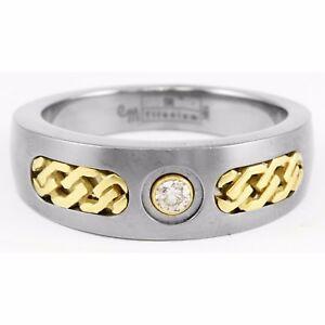 Edward Mirell Titanium 18k Yellow Gold Round Diamond Curb Link Chain Ring Band
