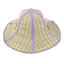 Unisex Outdoor Fishing Beach Wide Brim Summer Sun Folding Straw Hat Purple