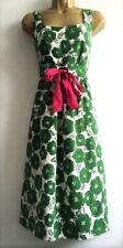 "NEXT SIZE 10 GREEN FLORAL SILK DRESS PINK SASH -SHORTENED TO 35"" ~ US 6 EU 38"