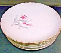 8 Beautiful Porcelain Snack Plates With Floral Pattern Cup Holders