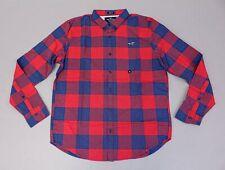 Hollister Men's Button Front Stretch Poplin Slim Fit Shirt SH3 Red Medium NWT