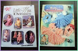 2 Annie's Attic Crochet Baby Dresses & Bibs Pattern Booklets