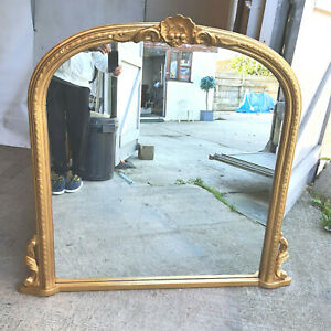 """20thC,large,dome top,carved,gold,gilt,overmantle,mirror,4' x 4'4"""",wall mirror"""