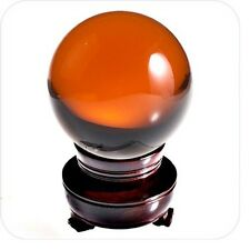 Amber Crystal Ball Sphere2in (50mm) with Wood Stand and Gift Box USA SELLER!