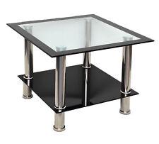 Glastisch Beistelltisch Couchtisch Schwarz mit Edelstahl + 8 mm ESG Glas B22 NEU