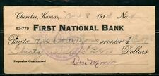 US FIRST NATIONAL BANK OF CHEROKEE, KANSAS, CANCELLED CHECK 11/8/1913