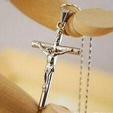 Femmes Bijoux Christ Croix d'Argent Jésus Crucifix Épée Collier chaîne Pendentif