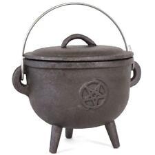 Oval Style 13.5CM Cast Iron Pentagram Witches Medium Cauldron Pot Pagan Gothic