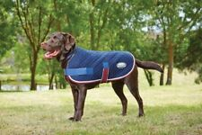 """Weatherbeeta Quilted Dog Coat Jacket - Navy-Red-White - 20"""""""