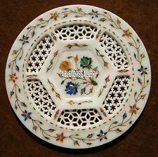 "10"" Marble White Plate Multi Floral Lattice Art Inlaid Home Precious Decor H4051"