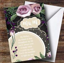 Personalised Vintage Chalk  Violet Floral Poem Mothers Day Card