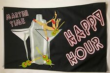 Martini Time Happy Hour Liquor Flag 3' X 5' Deluxe Indoor Outdoor Banner