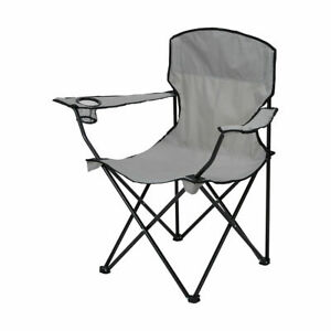 Grey Reclining Folding Outdoor Camp Fishing Chair Breathable Portable FR