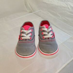 Vans Toddler Girls Grey with Hot Pink Accent Lace Shoes US Toddler 4.5