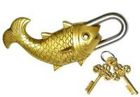 Brass Fish Pad-Lock with Two Keys. Vastu Collectible Lock-Feng Shui- Brass Made