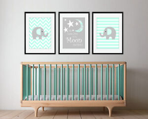 We Love You To The Moon And Back / Mint & Grey / Nursery Prints / Set Of 3