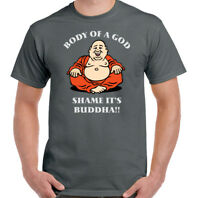 Fat T-Shirt Body Of A God Shame It's Buddha Mens Funny Humor Overweight Fatist