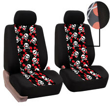 Universal Full Set Skull Car Seat Covers Polyester For Auto Truck SUV 2 Heads