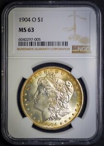 1904 O MS63 Morgan 90% US Mint Silver $1 Dollar Coin Free Shipping NGC Slab