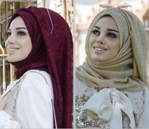 Girls Glitter Hijab Head Cover Scarf Shawl Wrap Maxi Long Viscose Lurex Dupattas