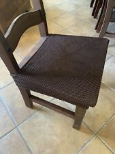 Set of 10, Chocolate Stretch Spandex Jacquard Dining Room Chair Seat Covers
