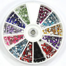 1800 Pcs Mix Shape Rhinestones Glitter for Nail Art Tips Decoration Wheel Set